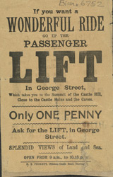 Advert for the passenger lift in Hastings